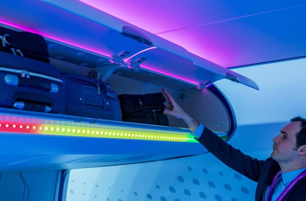 Portaequipajes inteligentes de Airbus con sensores para indicar el nivel de carga.