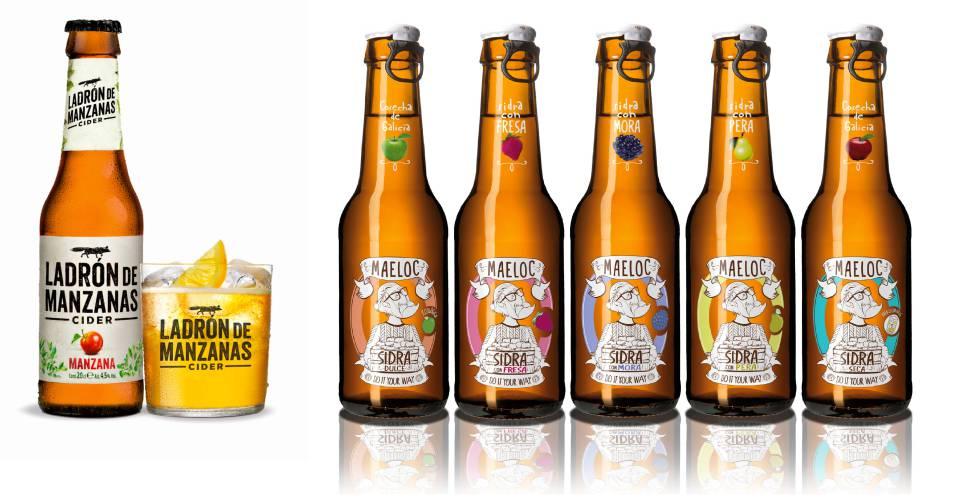 Sidras de las marcas Ladrón de Manzanas (Heineken) y Maeloc (Hijos de Rivera)