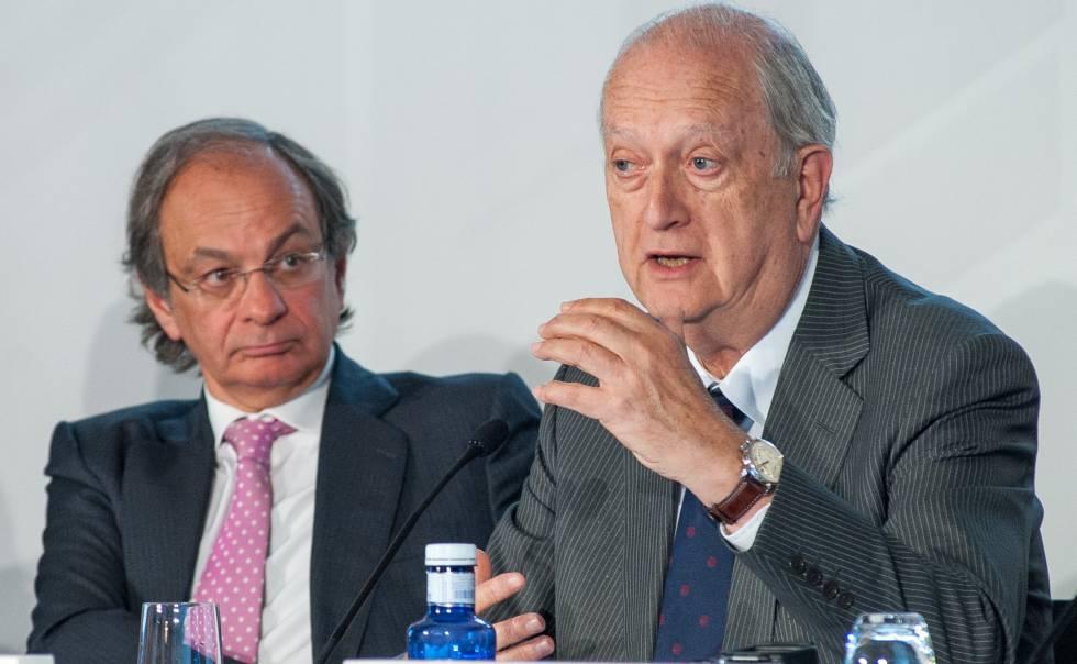 Pere Viñolas (izquierda), consejero delegado de Colonial, y Juan José Brugera, presidente.