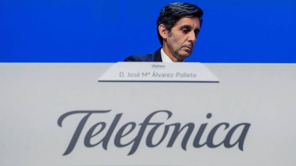 José María Álvarez-Pallete, presidente ejecutivo de Telefónica, durante la Junta de Accionistas de Telefónica.