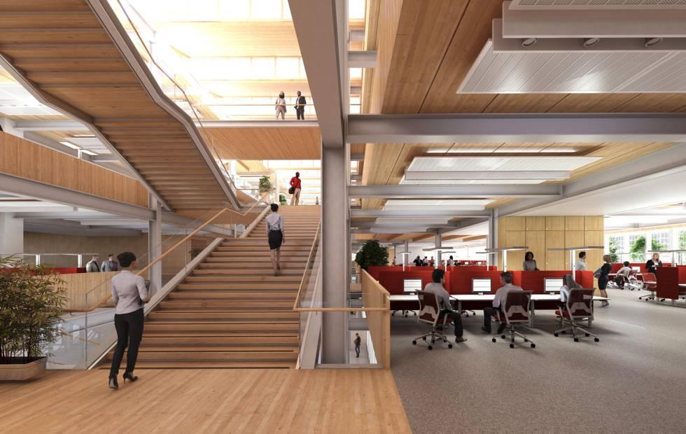 Recreación del nuevo campus de Santander en Liverpool, por dentro.