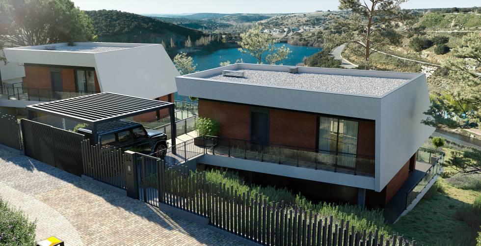 Recreación de viviendas en la zona del lago de Air Homes Club.