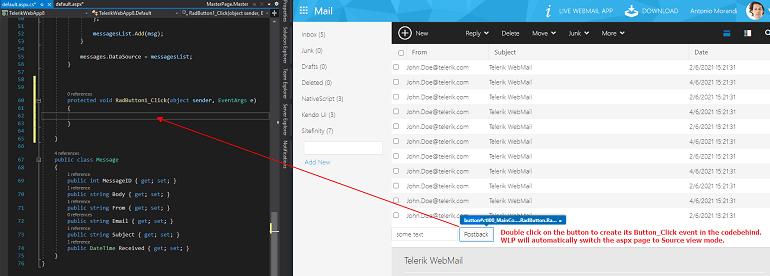 """Web Live Preview Créer un événement de serveur. Le texte de superposition dit: """"Double-cliquez sur le bouton pour créer son événement Button_Click dans le codebehind. WLP basculera automatiquement la page aspx en mode d'affichage Source.'"""