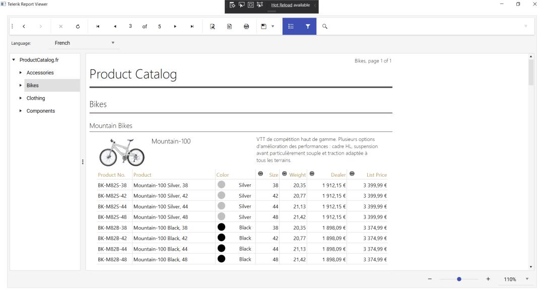 Une liste de catalogue similaire de vélos, mais avec des descriptions et des détails conçus pour les lecteurs français au lieu de l'anglais