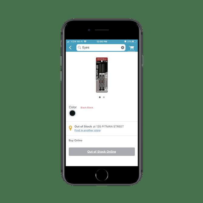 """L'application Walgreens indique automatiquement aux utilisateurs si le produit qu'ils recherchent est """"En rupture de stock"""" ou disponible dans leur magasin préféré."""