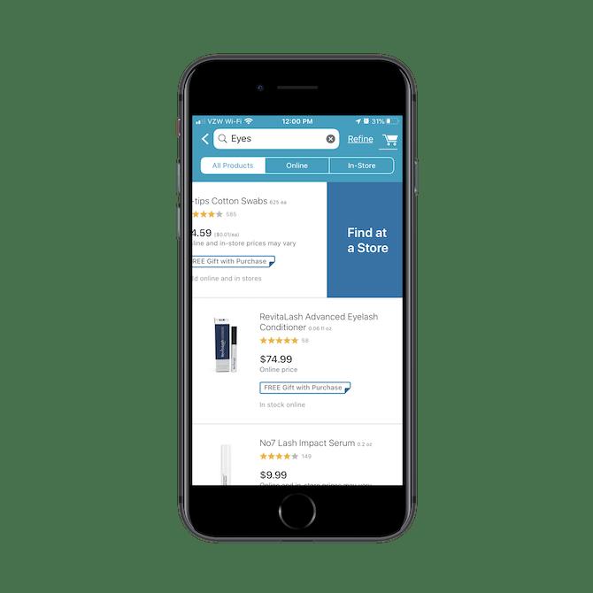 """Walgreens propose une option de balayage """"Rechercher dans un magasin"""" pour les clients souhaitant acheter un article spécifique dans un magasin local"""
