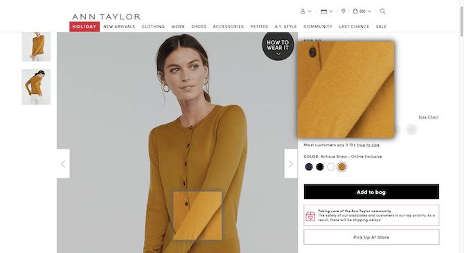 Un exemple de ce qui se passe lorsque quelqu'un zoome sur un pull Ann Taylor sur le site Web. La fonction de zoom révèle un regard flou et minuscule sur le tissu.