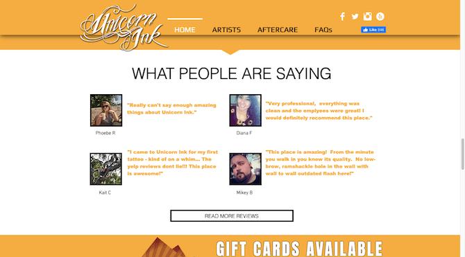 La Licorne Le site Web d'Ink comprend 4 témoignages avec les noms des clients, leurs photos et des citations de Yelp.