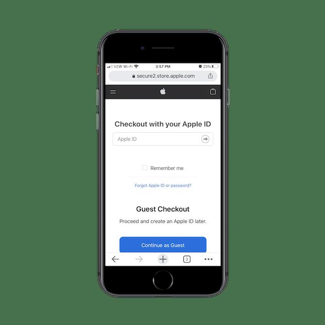 Apple demande aux clients de payer avec leur identifiant Apple ou de continuer en tant qu'invité.