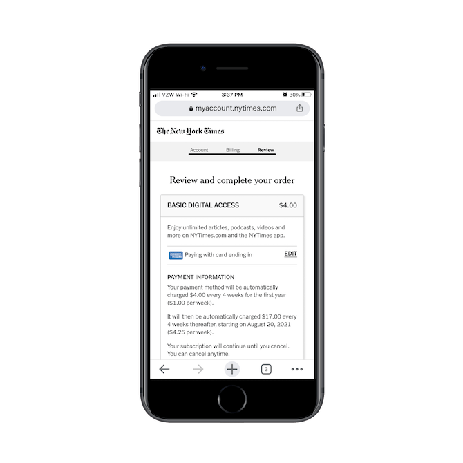 La page de révision des commandes du New York Times sur mobile résume succinctement les détails et les coûts de l'abonnement numérique.