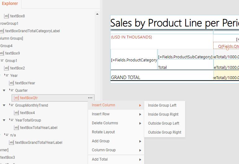 Les nouvelles commandes du menu contextuel de table disponibles dans Telerik Reporting
