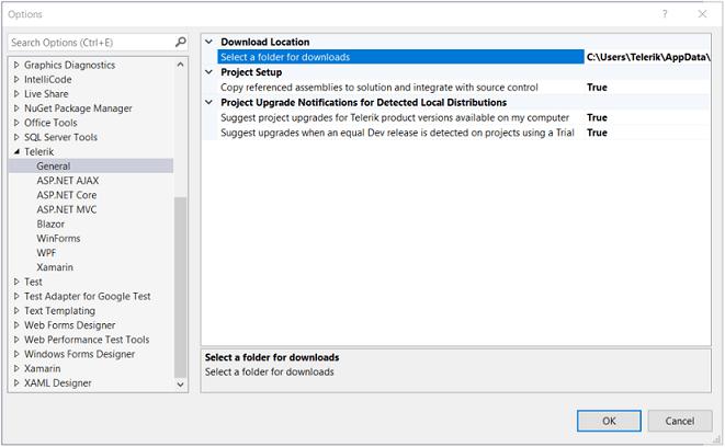 Affichage de l'interface utilisateur Telerik pour WinForms Options d'extensions Visual Studio dans Visual Studio.