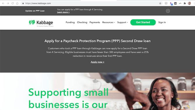 Le site Web Kabbage a un certificat SSL installé, de sorte qu'il fonctionne sur HTTPS.