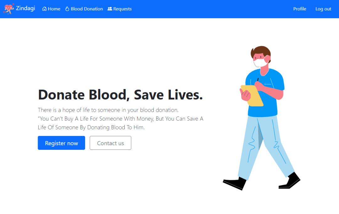 """La page d'accueil de Zindagi indique """"Donate Blood, Save Lives"""". et a des boutons pour s'inscrire maintenant et nous contacter."""