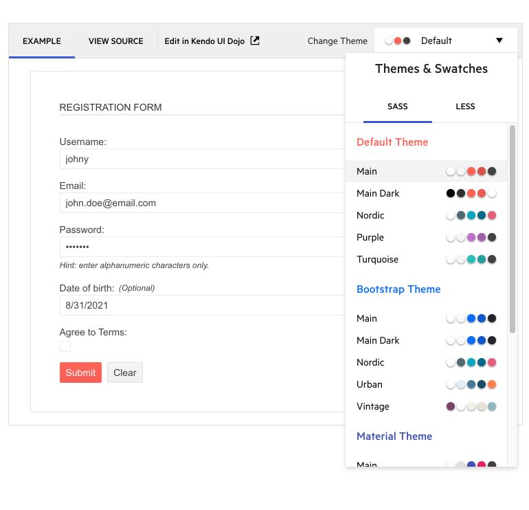 Kendo UI pour jQuery - Sélecteur de thèmes amélioré