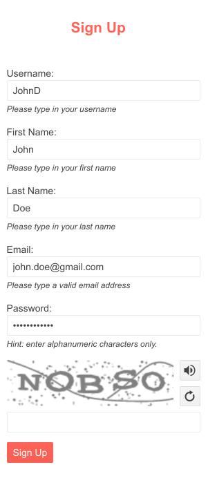 Petit échantillon d'un formulaire avec la nouvelle interface utilisateur Kendo pour le composant CAPTCHA jQuery en bas