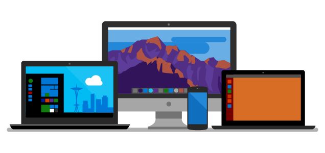 Net6Preview3 - bureau illustré, deux ordinateurs portables et un téléphone