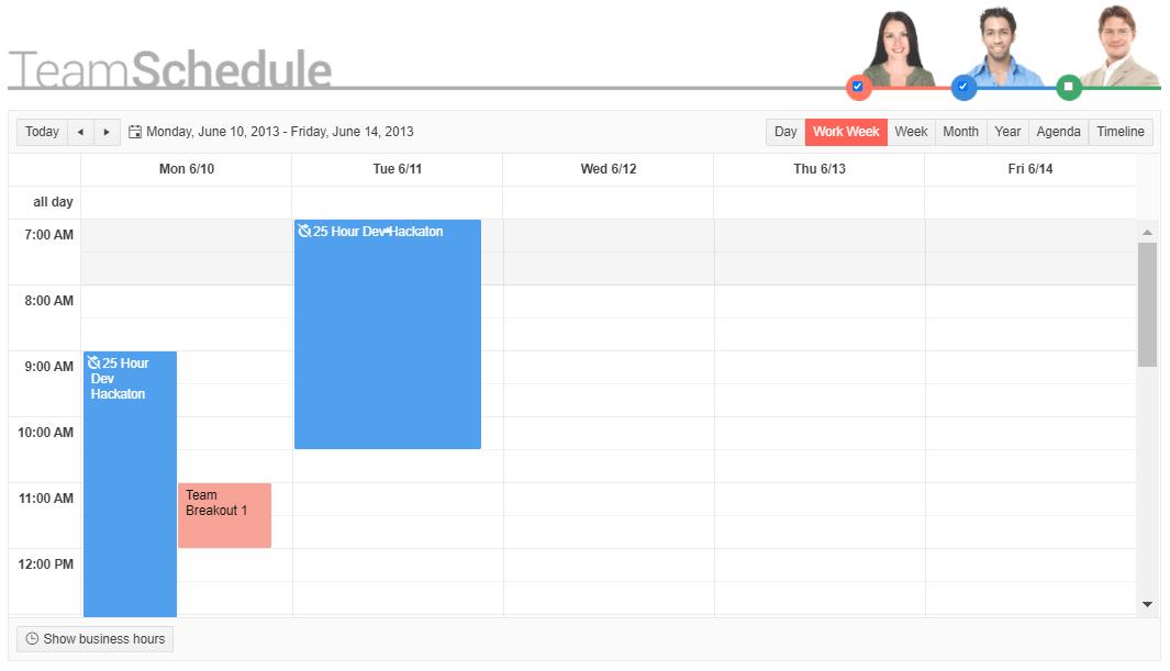 Dans un calendrier d'équipe hebdomadaire, un hackathon de développement de 25 heures est présenté comme un événement se déroulant dans une barre verticale de 9 h du lundi à 10 h le mardi.