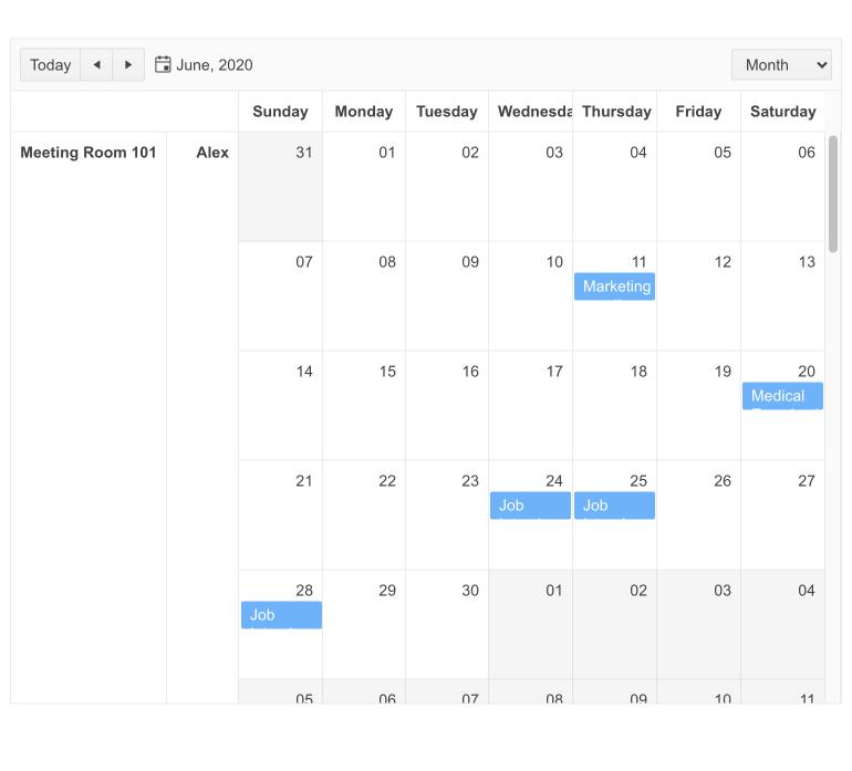 Un calendrier pour juin 2020 montre quelques événements. À gauche, deux colonnes montrent la salle de réunion 101 et Alex