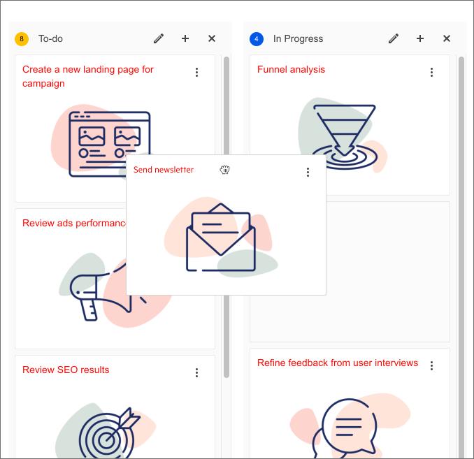 Deux listes verticales côte à côte affichent des cartes empilées avec de grandes icônes. La liste des tâches à faire sur la gauche a une carte «Envoyer un bulletin d'information» qui est saisie et déplacée - peut-être vers la liste Terminé sur la droite.