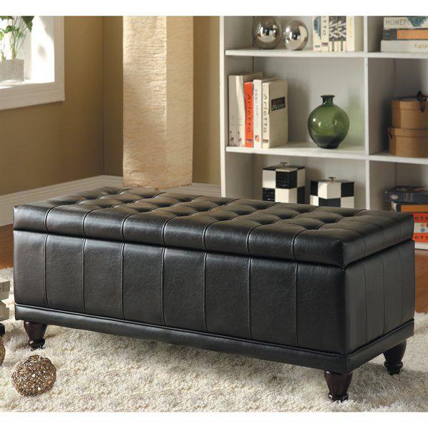 Vinyl Storage Bench In Dark Brown Home Decor Interior Design Blog Discount Furniture