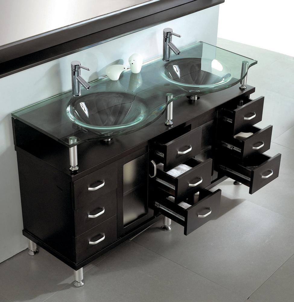 Double Sink Bathroom Vanity In Espresso by Virtu USA  Home Decor Interior Design  Discount