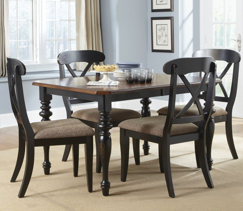 Liberty furniture abbey court 5 piece 72 38 rectangular for Black dining room set