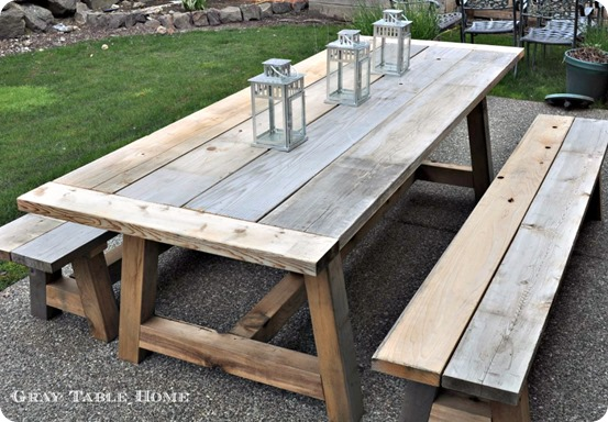 reclaimed wood outdoor dining table and benches home decor interior design discount. Black Bedroom Furniture Sets. Home Design Ideas