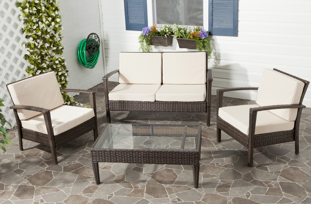 Safavieh piscataway 4 piece conversation set in brown beige furniture mall llc home decor Home design furniture llc
