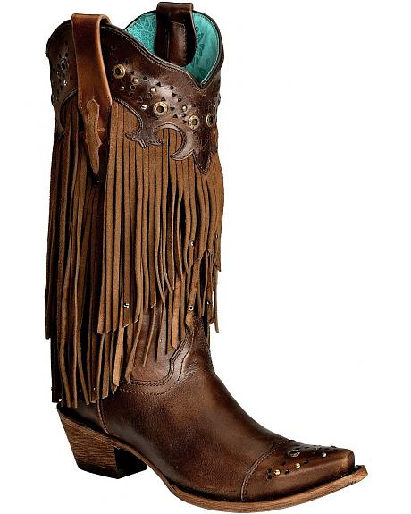 Corral Sierra Fringe  Studded Cowgirl Boots  Snip Toe