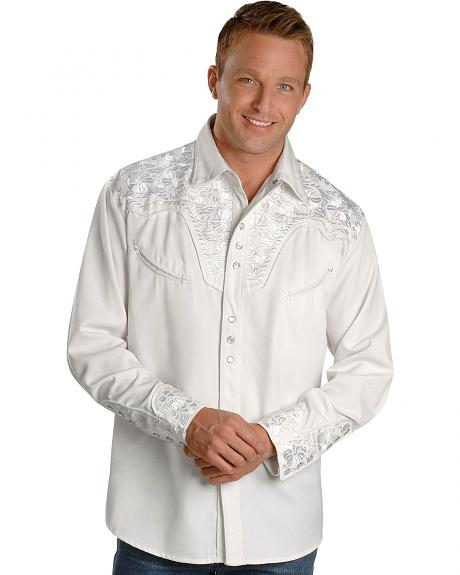 Scully White Floral Embroidery Retro Western Shirt  Sheplers