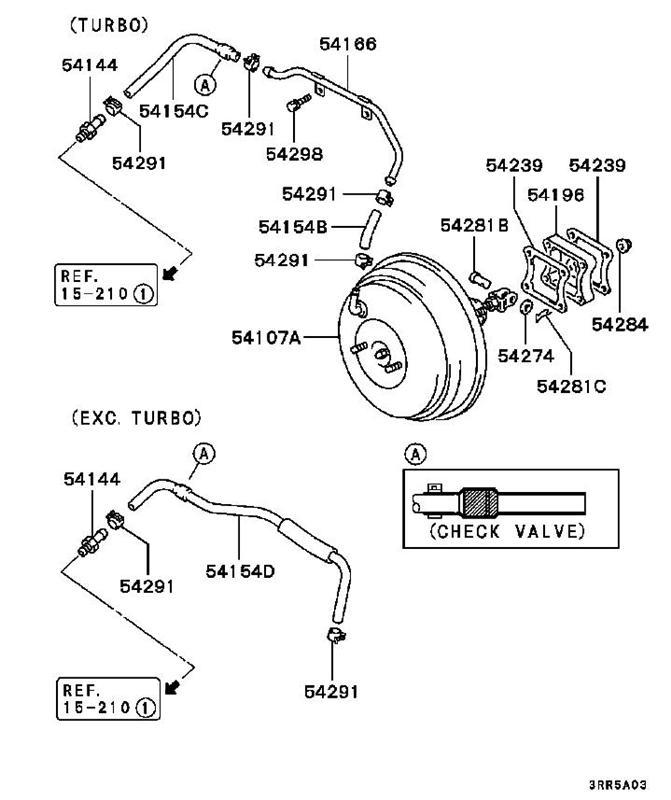 3000GT/Stealth Turbo Brake Booster Hose MB857312 (54154C