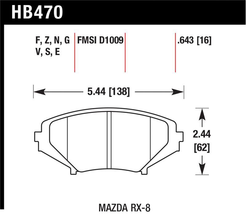 Hawk HT-10 Brake Pads; FMSI ID, D1009 MAZDA RX-8
