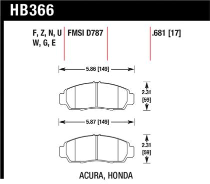 Hawk Club Racing Brake Pads HB366E.681 Fits:ACURA 2001