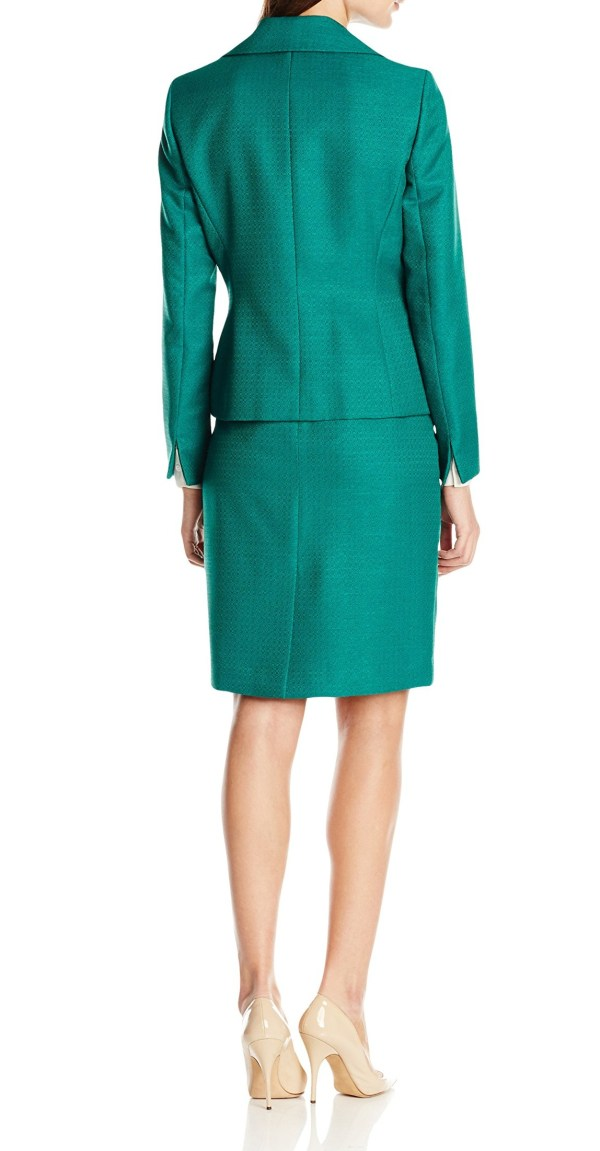 Le Suit Emerald Green Jacquard Women' Size 12 Skirt