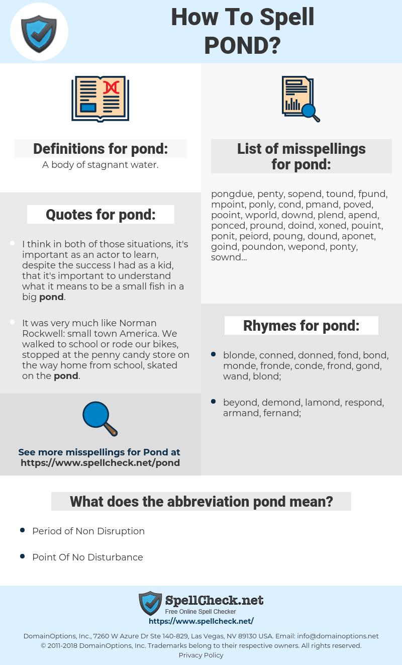 How Do You Spell Pond : spell, Spell, Misspell, Spellcheck.net