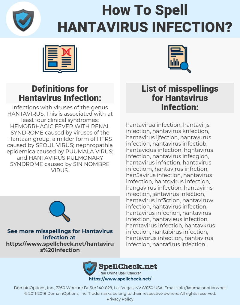 How To Spell Hantavirus infection (And How To Misspell It Too ...