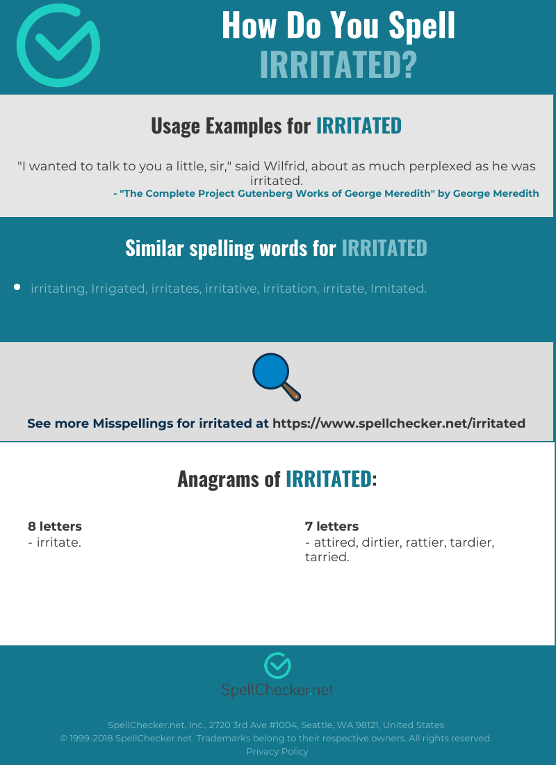 Correct spelling for irritated [Infographic ...