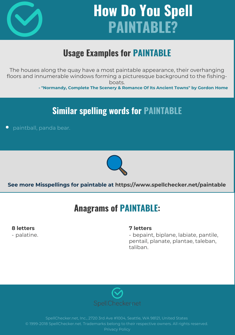 How Do You Spell Picturesque : spell, picturesque, Correct, Spelling, Paintable, [Infographic], Spellchecker.net