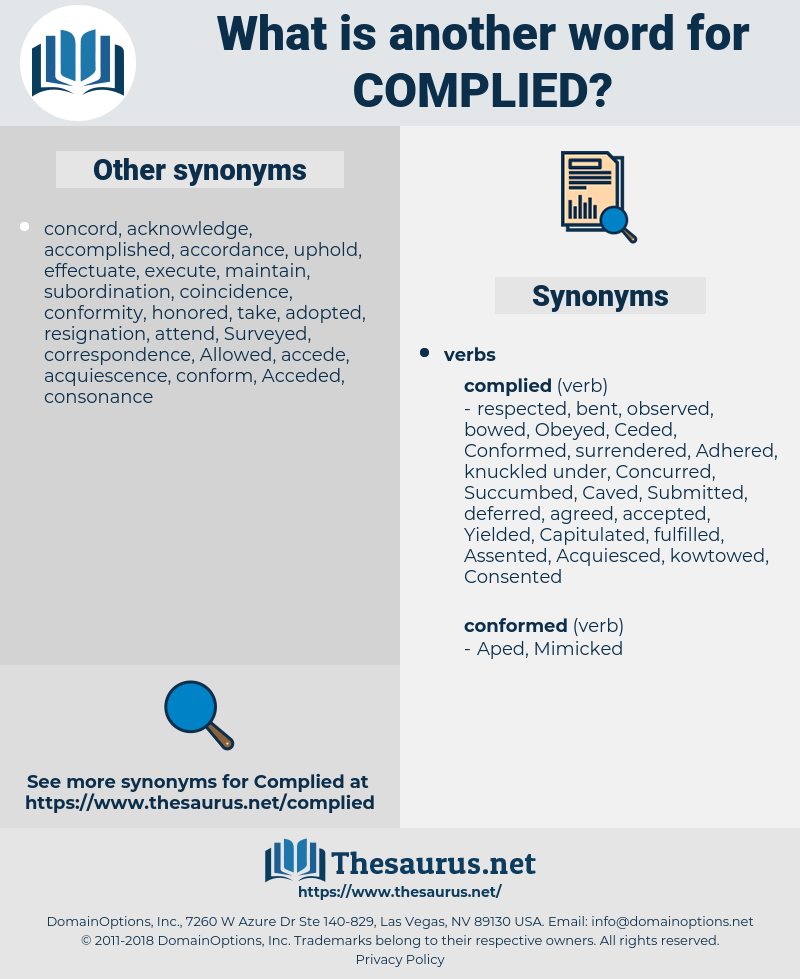 Synonyms for COMPLIED - Thesaurus.net