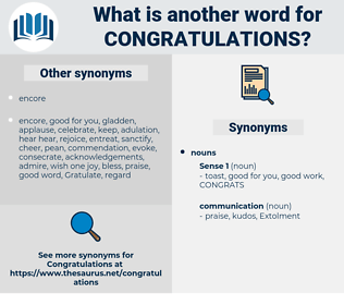 synonyms for congratulations antonyms
