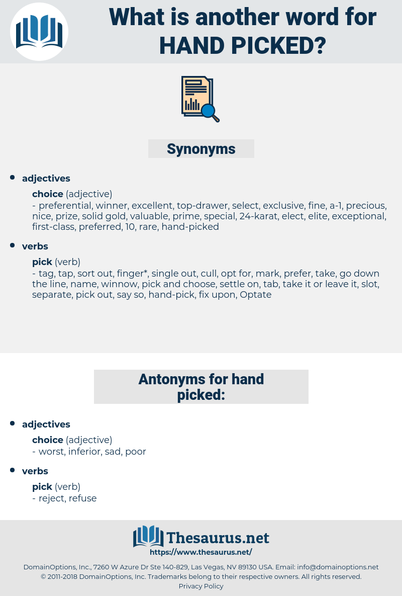 Synonyms for HANDPICKED Antonyms for HANDPICKED