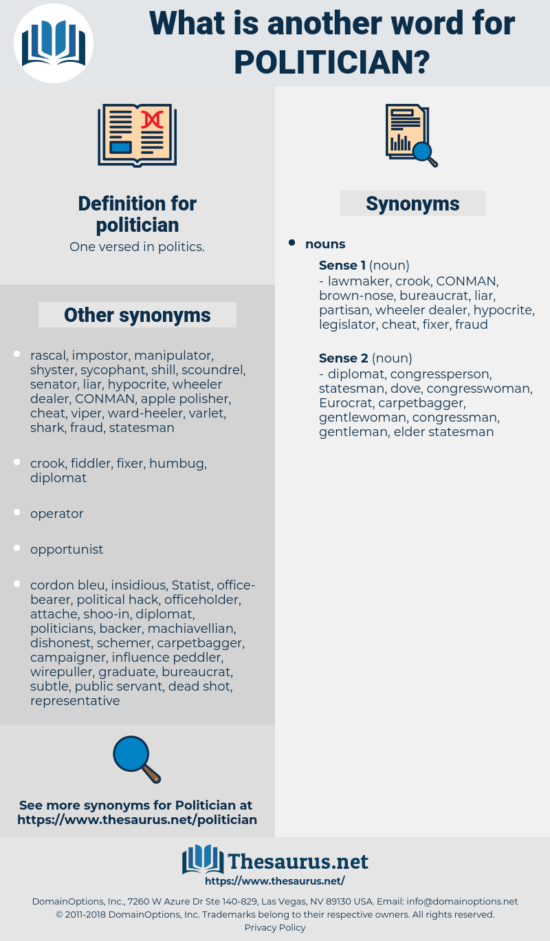 Synonyms for POLITICIAN  Thesaurusnet