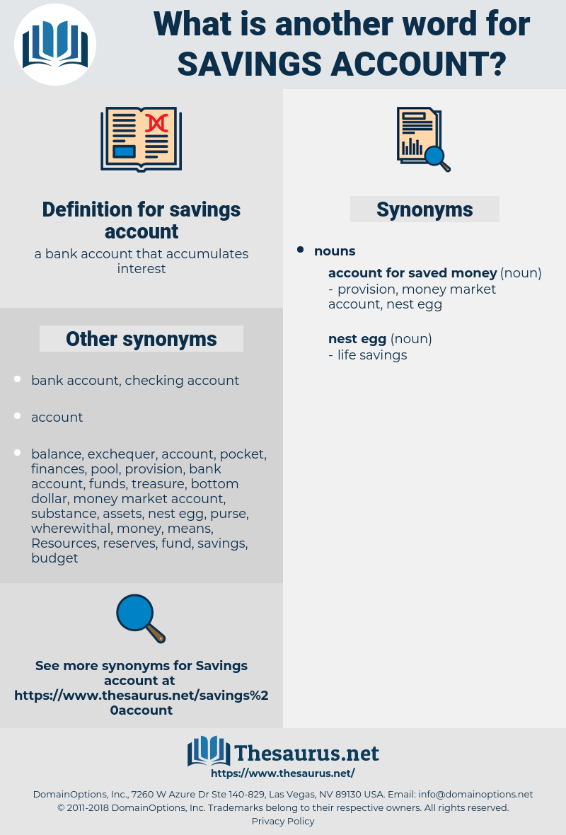 Synonyms For Savings Account Thesaurus Net