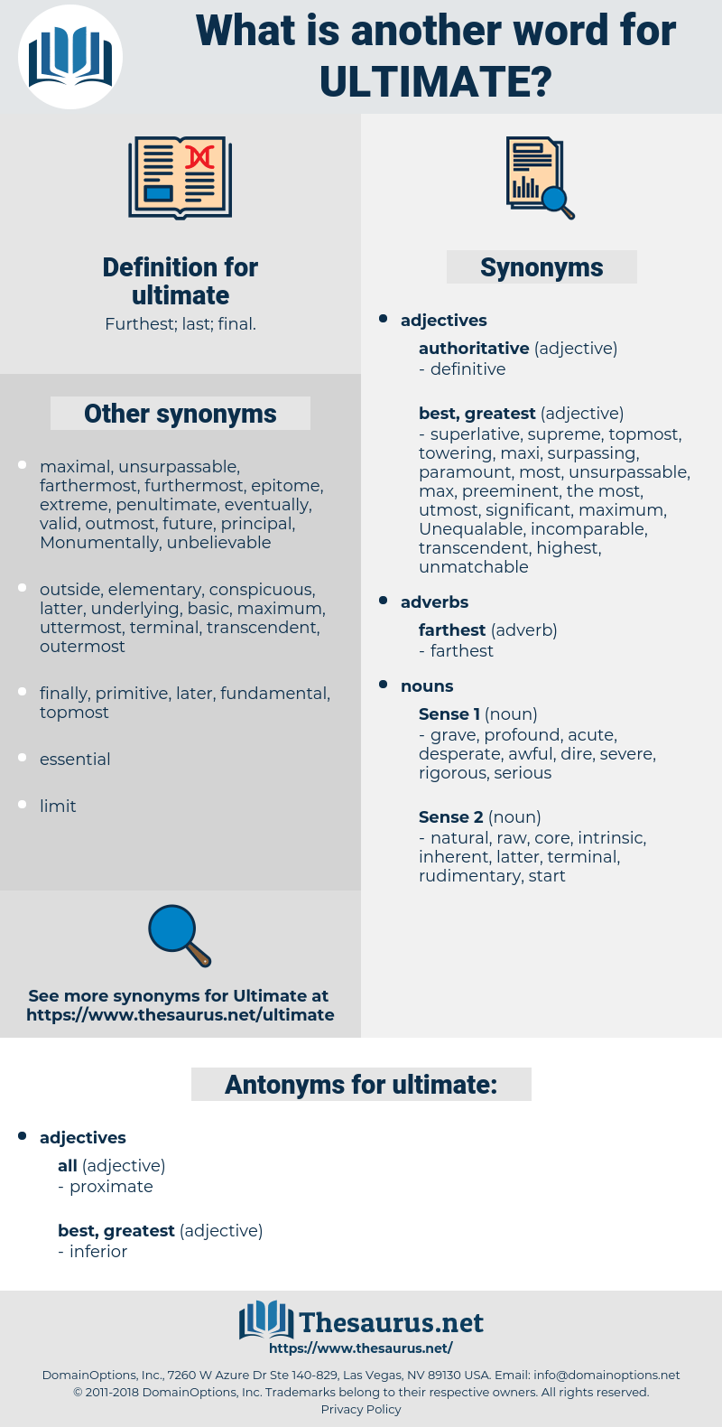 Synonyms for ULTIMATE Antonyms for ULTIMATE  Thesaurusnet