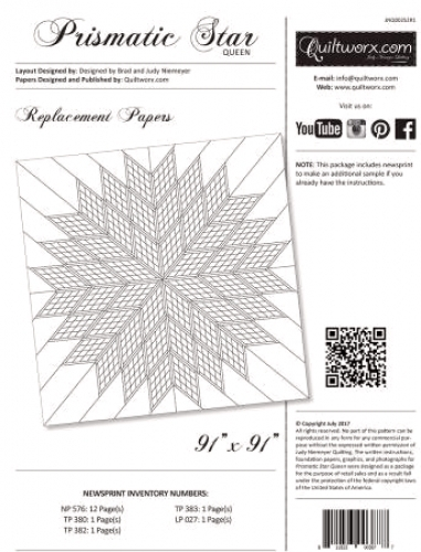 Quiltworx: Prismatic Star Queen Replacement Papers