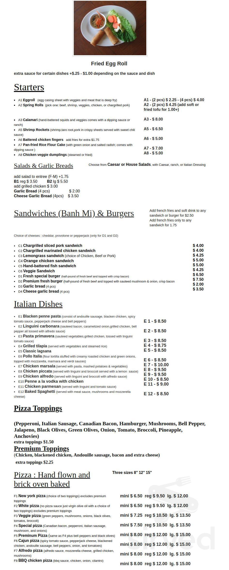 menu for vietalia kitchen