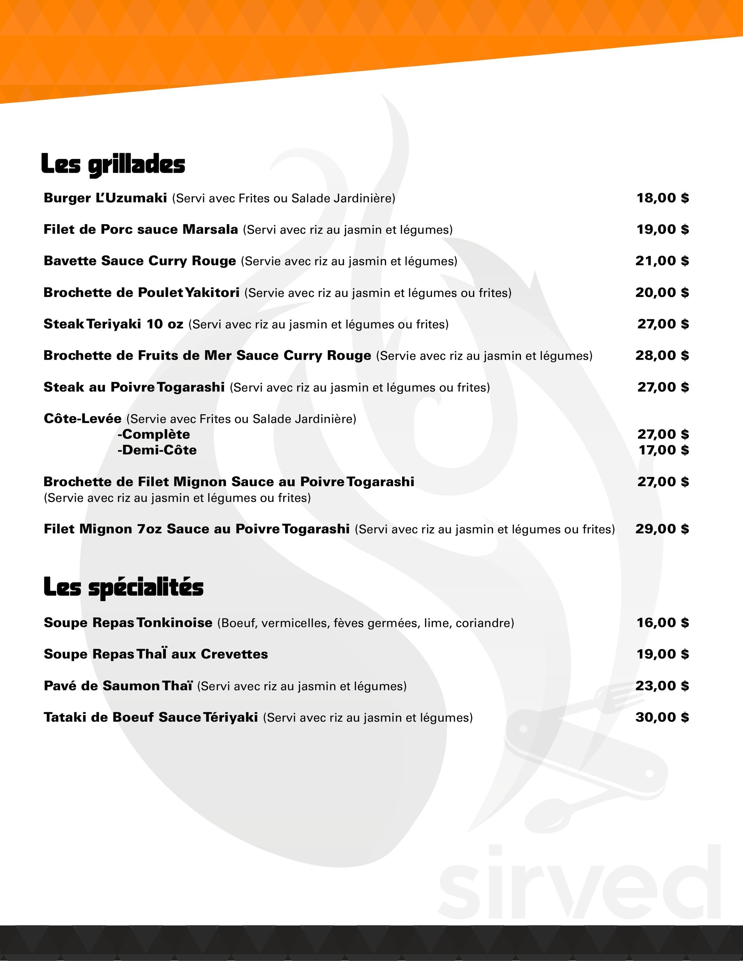 Menu For L Uzumaki In Baie Comeau Quebec Canada