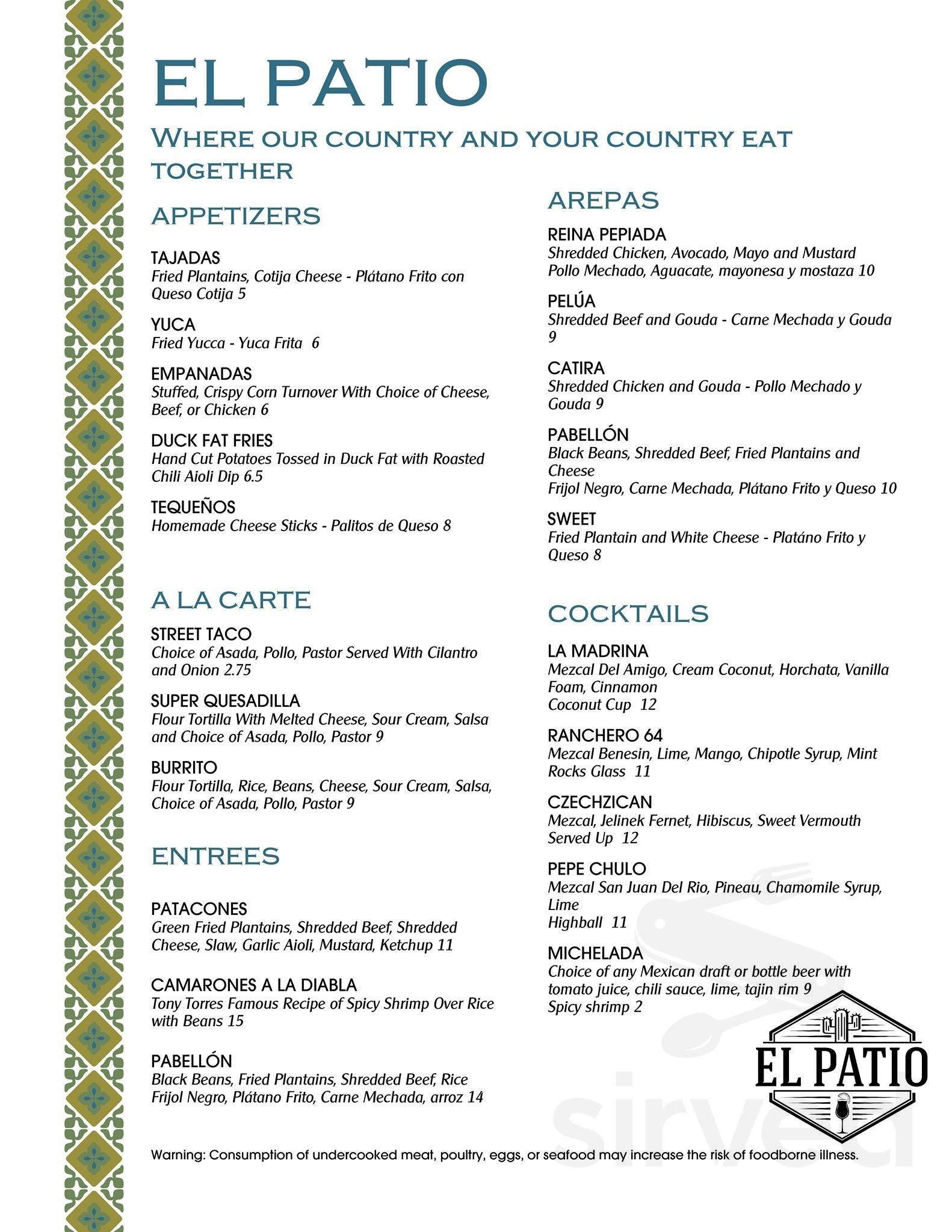 el patio menu in berkeley california usa