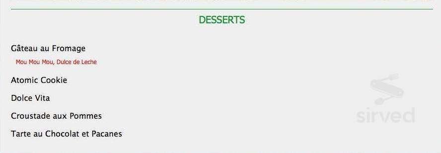 menu for resto bar